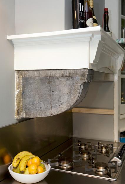keuken, detail originele schouw