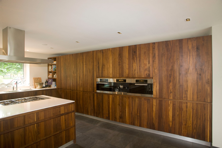 keuken, keukenwand, hout, inbouwapparatuur