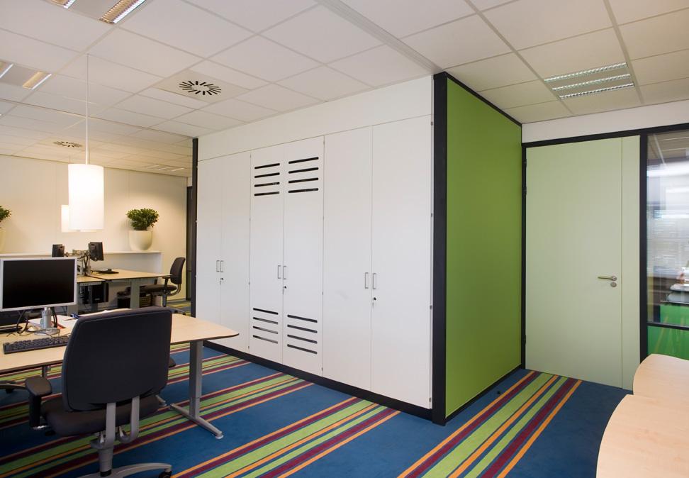kantoor, groen, blauw, interieur, kast op maat, interieuradvies, Terstal