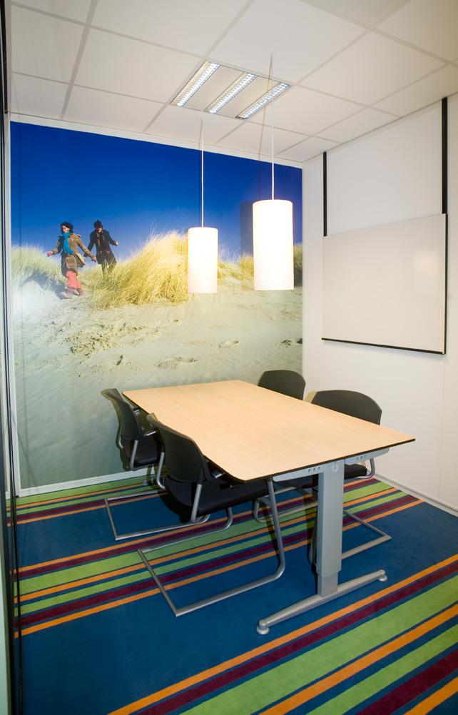 vergaderruimte, kantoor, groen, blauw, interieur, interieuradvies, Terstal