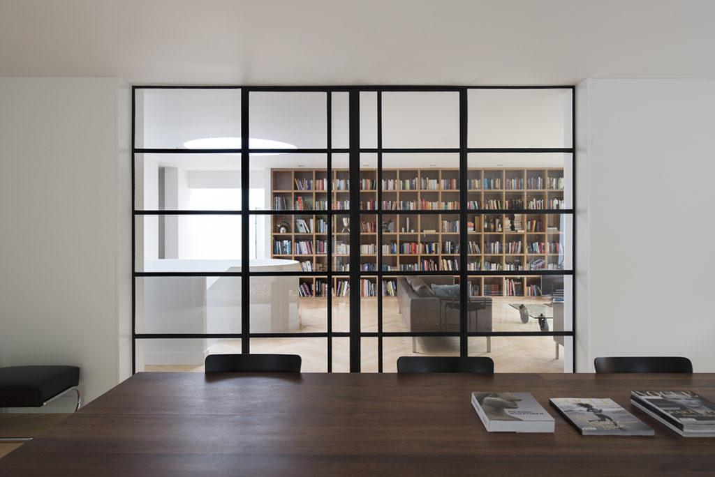 deuren glas en metaal, eetkamer